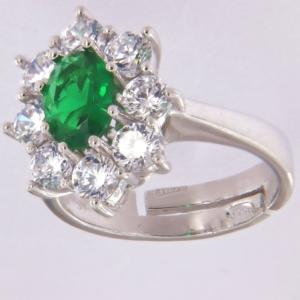 Anello contorno stile principessa con centrale colore smeraldo scuro
