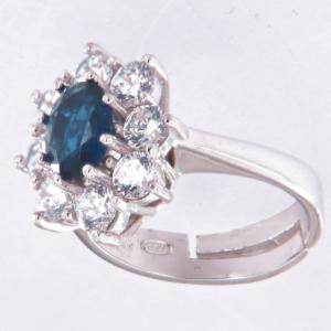 Anello contorno stile principessa con centrale colore ZAFFIRO BLU